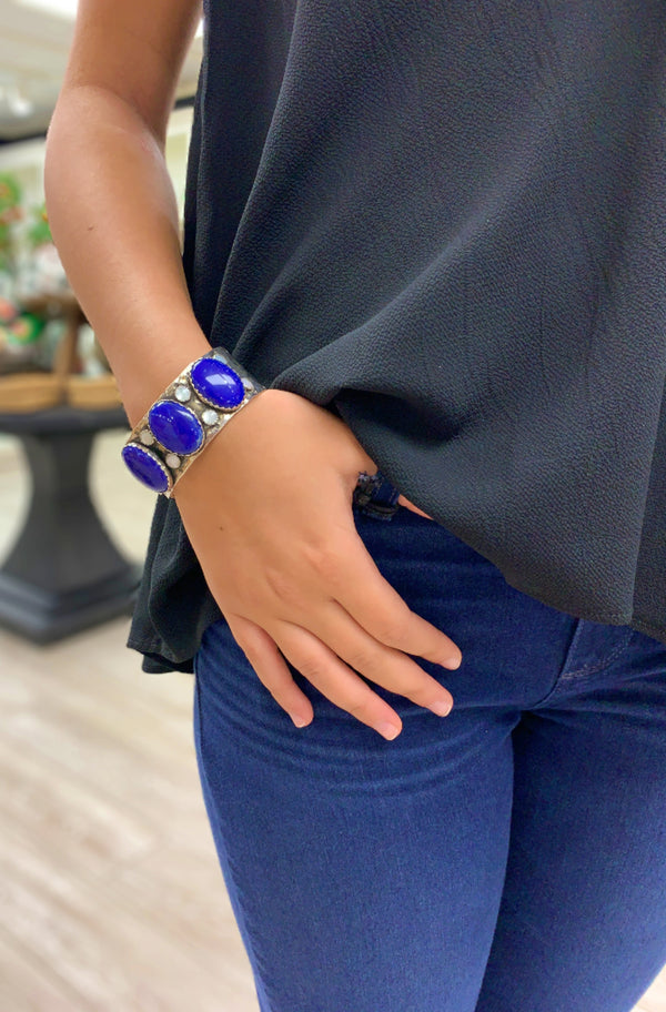 Lapis and Pearl Thick Cuff