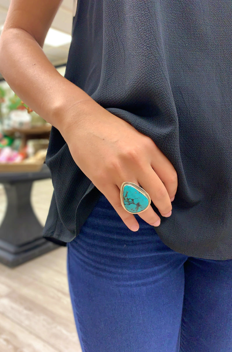 Pear Shaped Turquoise Statement Ring