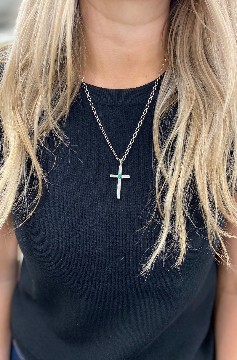 4cm Simple Cross with Single Turquoise Accent