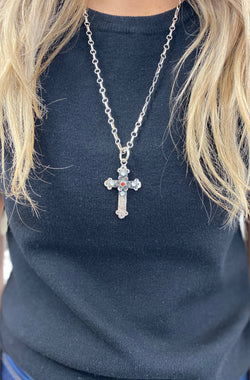 Ornate Cross Pendant with Garnet Rose & Mother of Pearl Accents