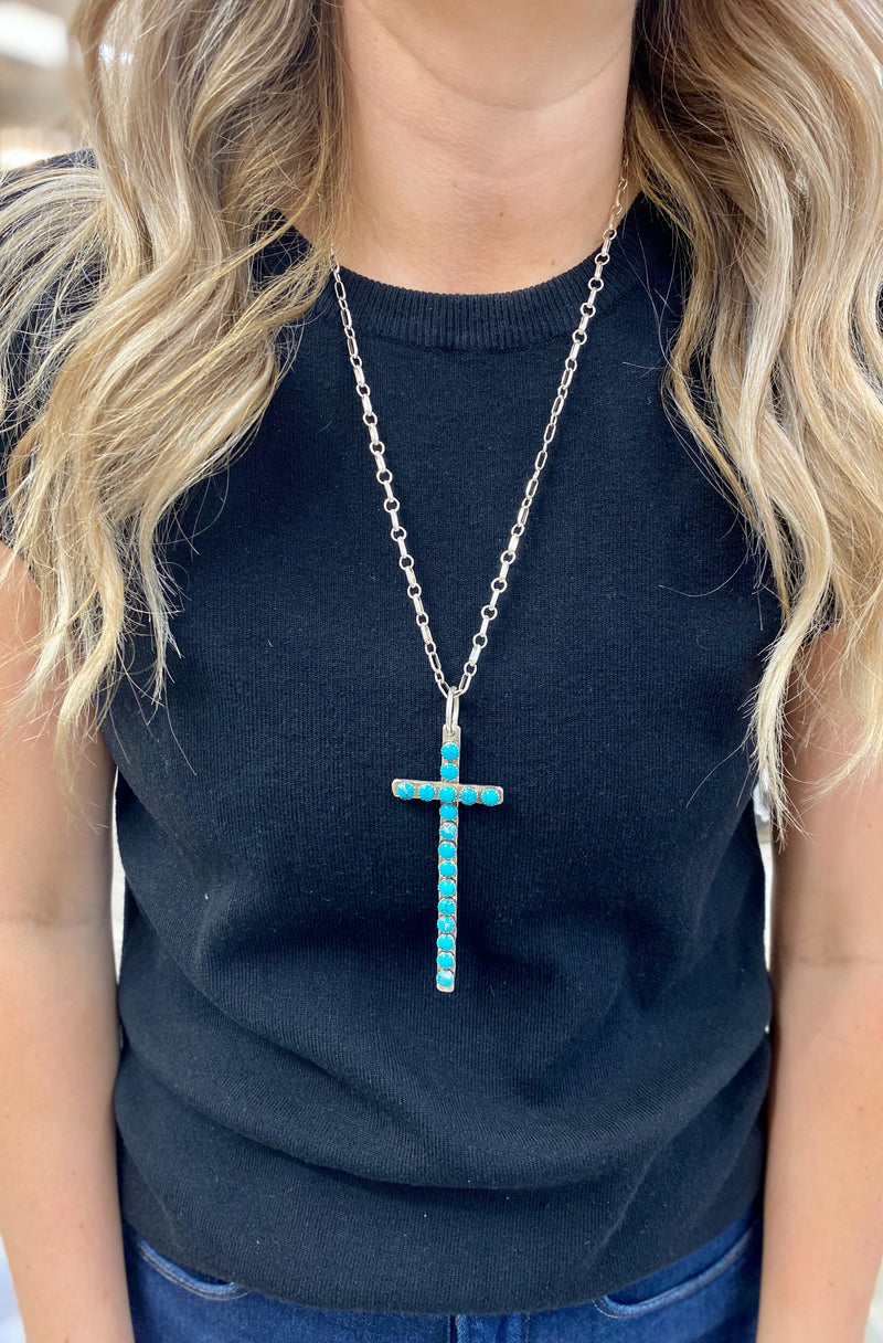 Long Narrow Cross with Several Turquoise Accents