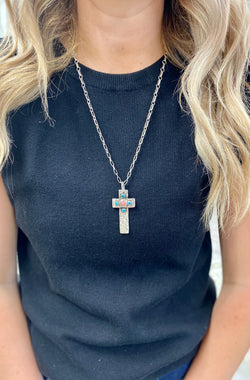 5cm Cross Pendant with Turquoise & Pink Rhodochrosite Accents