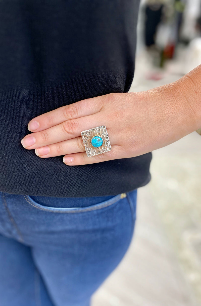 Square Ring with Turquoise and Etching Accents