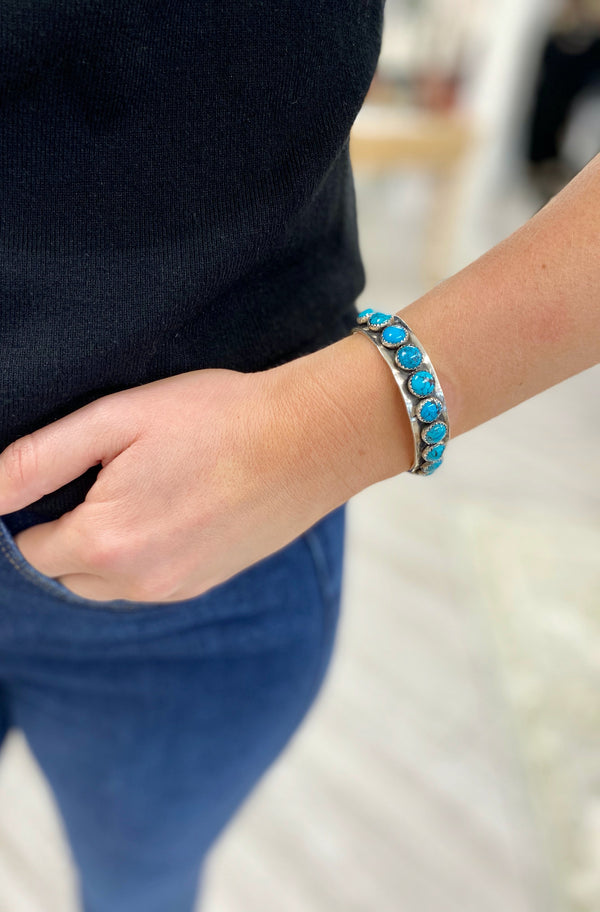 13mm Cuff with 14 Bright Turquoise Accents