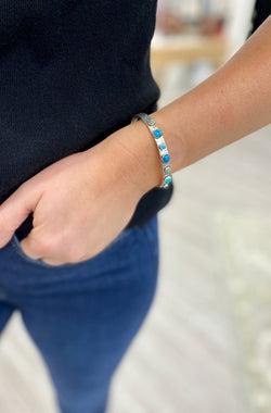 6mm Cuff with Various Seven Turquoise Accents