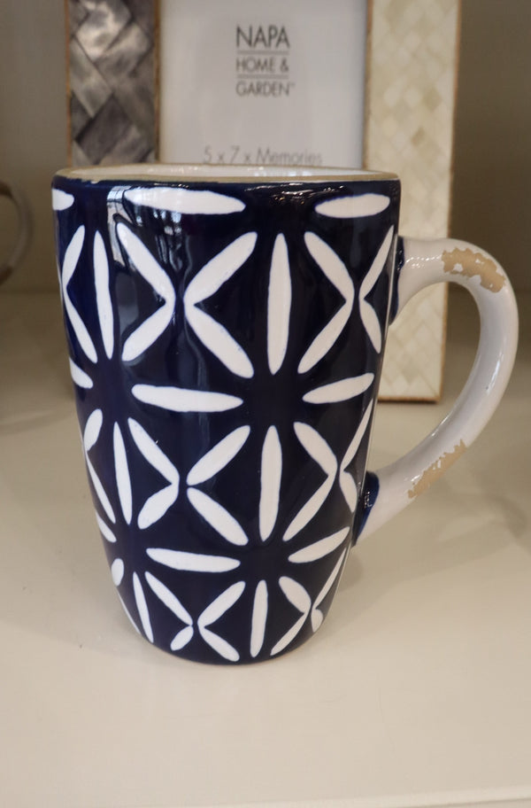 Blue Stoneware Mugs- Crosses