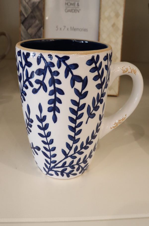 Blue Stoneware Mugs- Branch