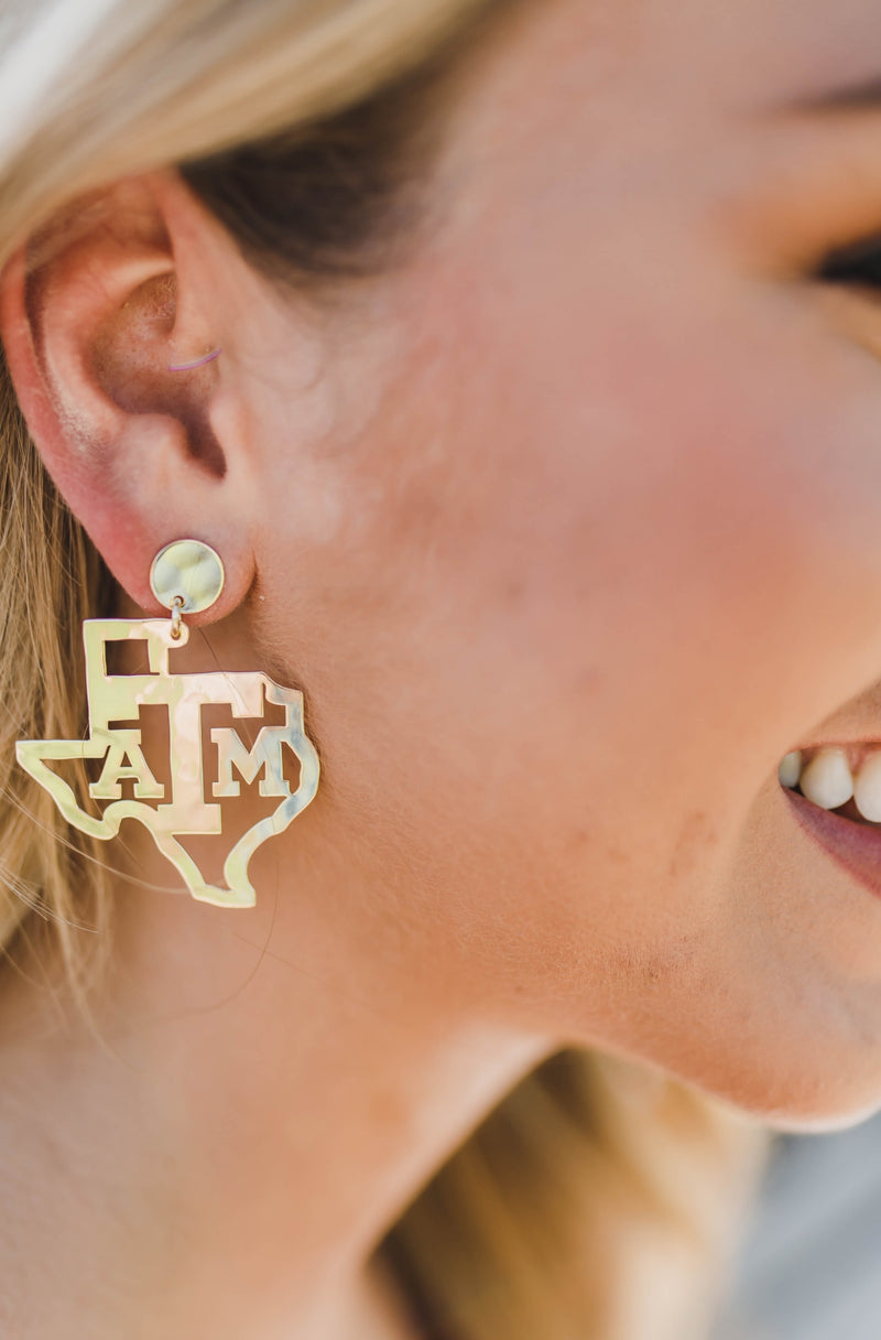 LOLA + LINA A&M State Earrings - Gold