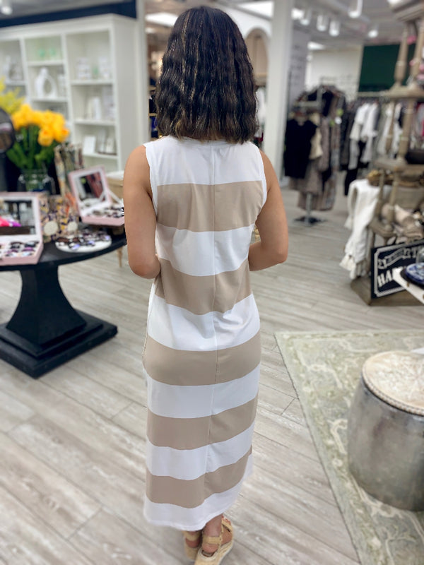 Lida Stripe Dress, Doeskin/White