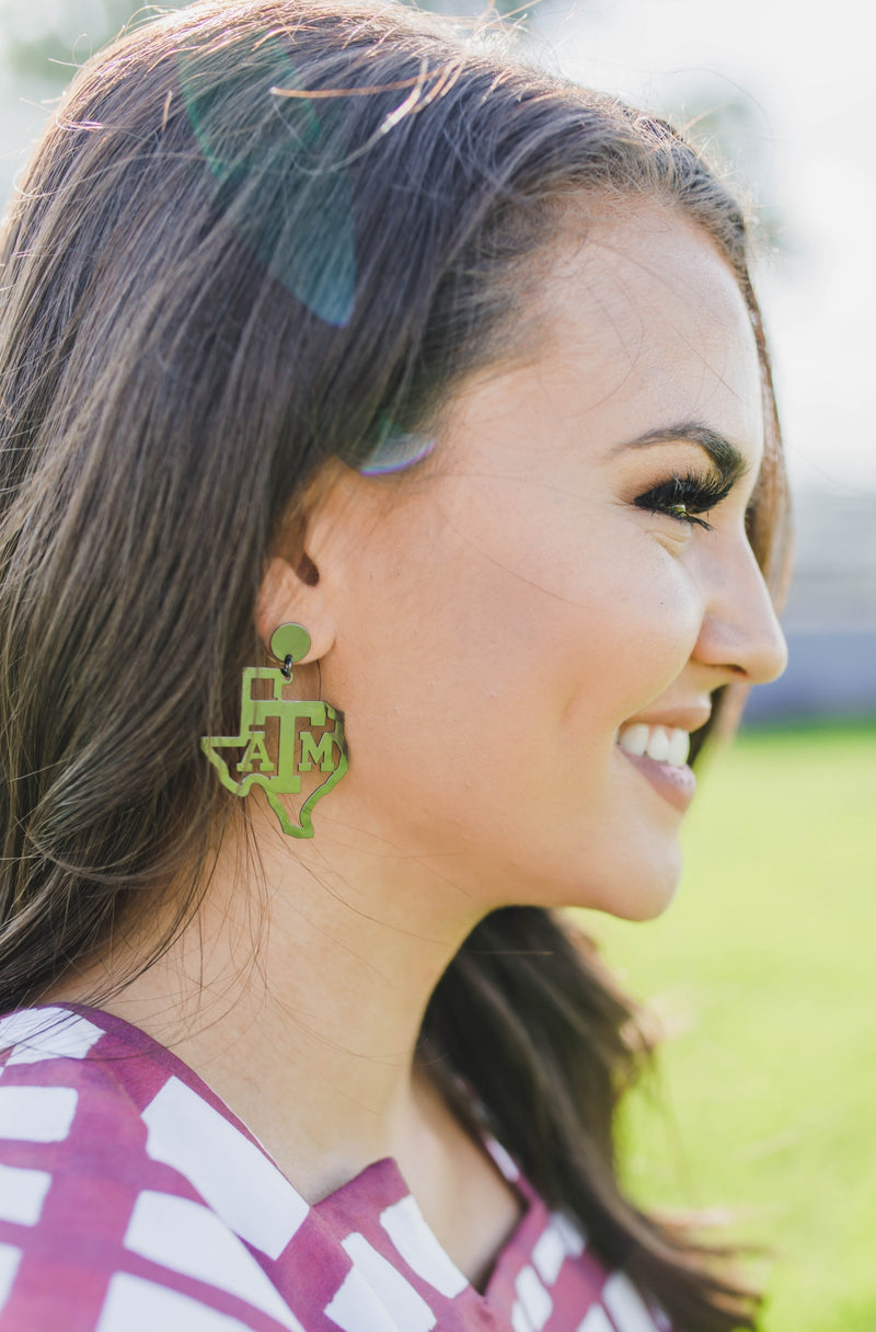 LOLA + LINA A&M State Earrings - Gunmetal