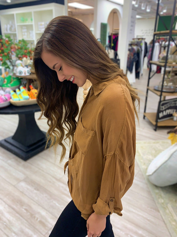 Caramel Long Sleeve Button Down