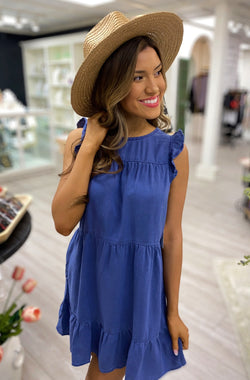 Ruffle Sleeve Tiered Dress, Washed Indigo