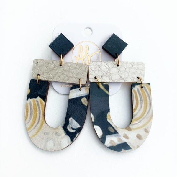 Abby Earrings, Black Cream Abstract