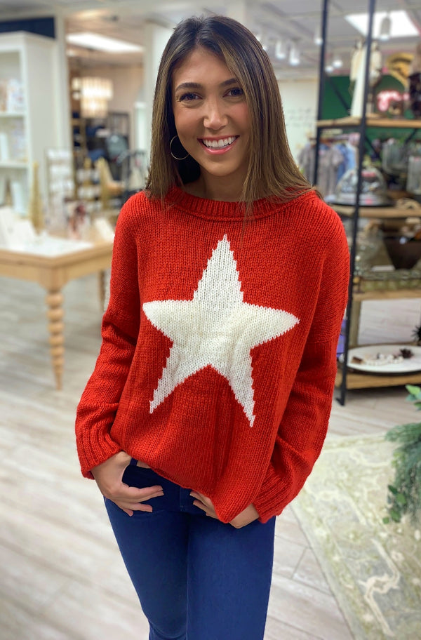 Star Slouchy Crew Sweater, Red