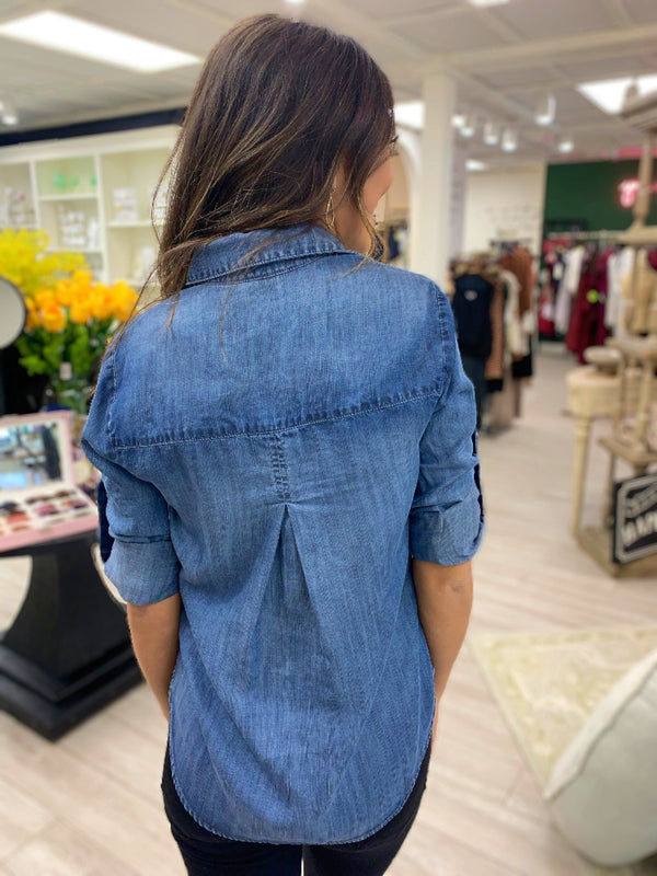 Pullover Placket Top, Denim