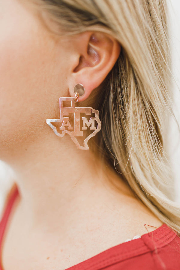 LOLA + LINA A&M State Earrings - Rose Gold