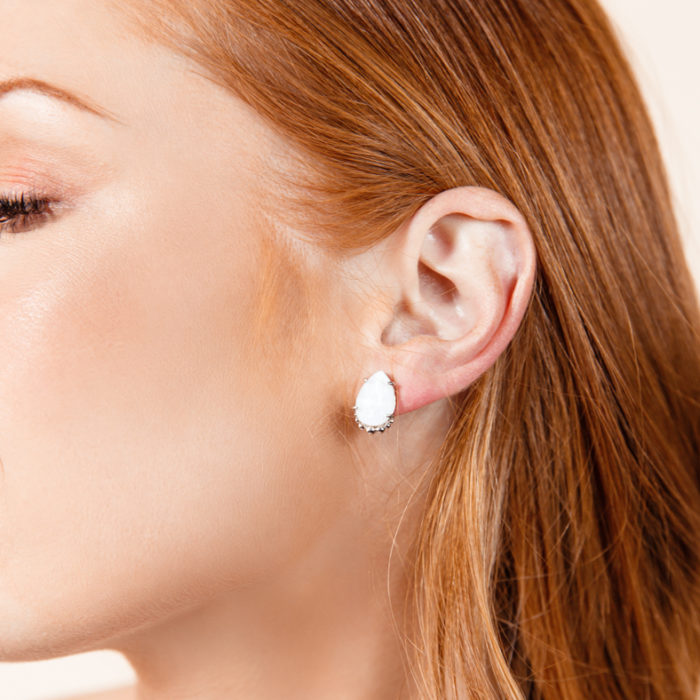 She's A Gem Teardrop Stud Earrings in White Drusy