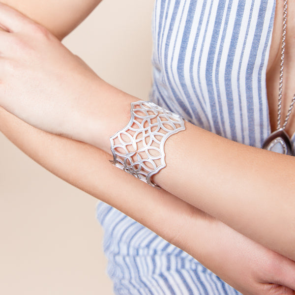 Believer Cross Cuff, Filigree - Silver