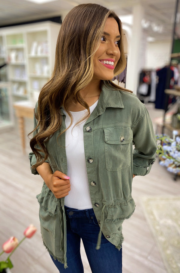 Button Down Jacket, Olive