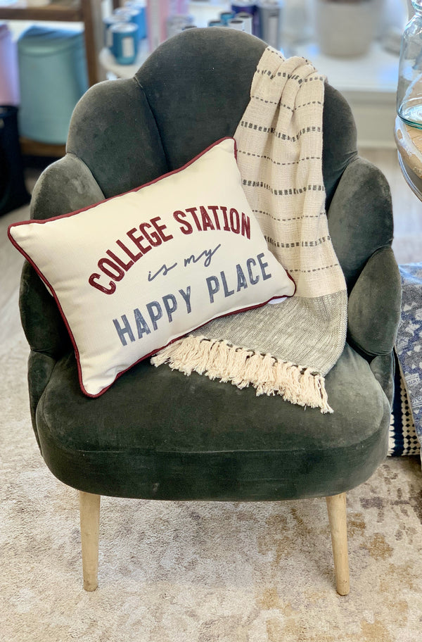 Happy Place Gameday Pillow
