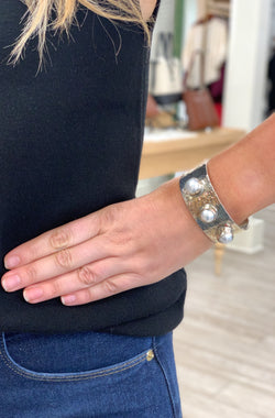 Wide Cuff with Three Mother of Pearl Accents