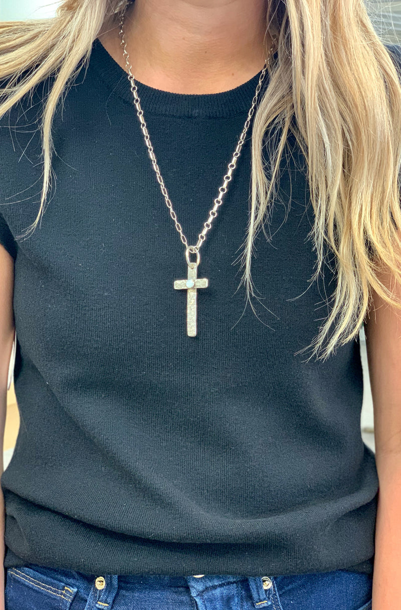 2in Cross with Mother of Pearl Accent