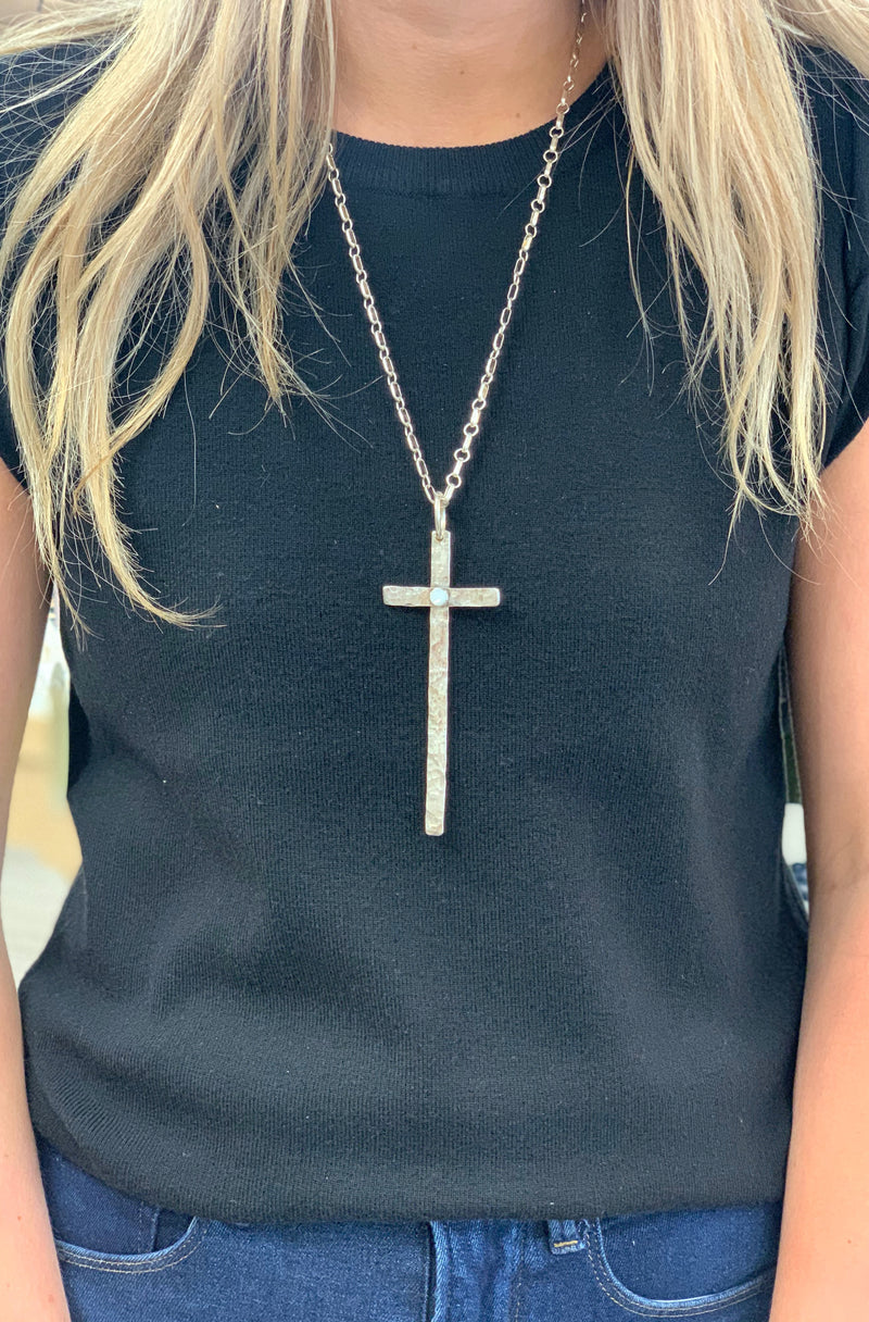 Thin Long Cross with Mother of Pearl Accent