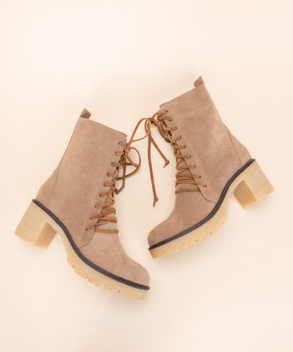 Jamie Leather Lace Bootie, Latte