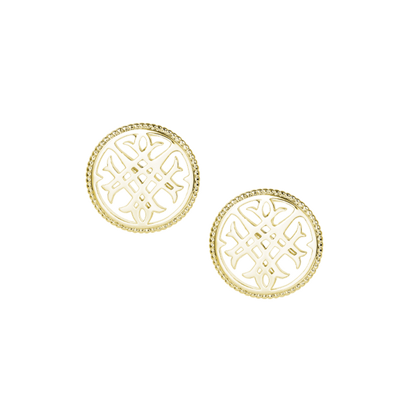 Circle Logo Stud Earrings in Gold
