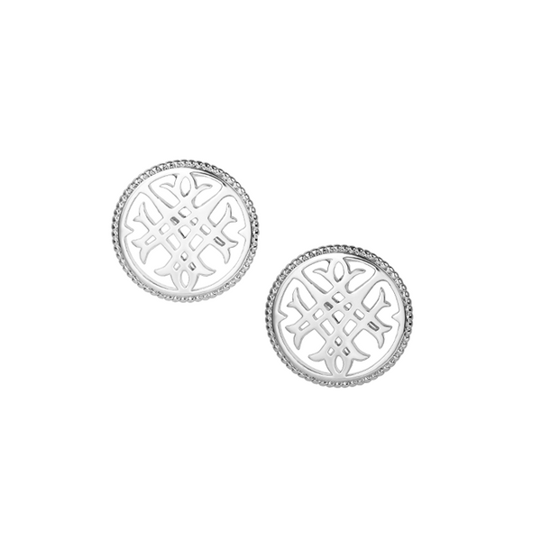 Circle Logo Stud Earrings in Silver