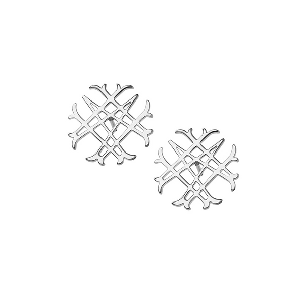 Logo Stud Earrings in Silver