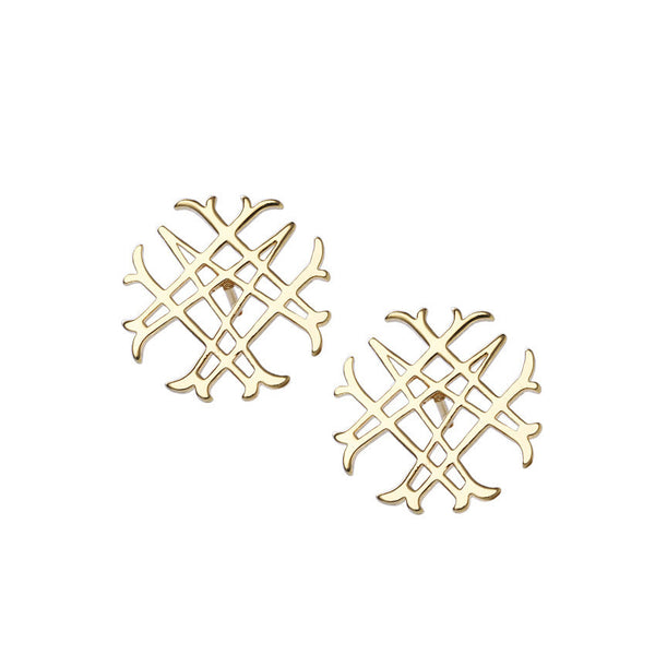 Logo Stud Earrings in Gold