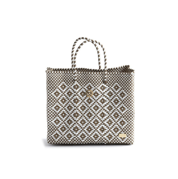 Oaxaca Small Tote Bag, Gold/White