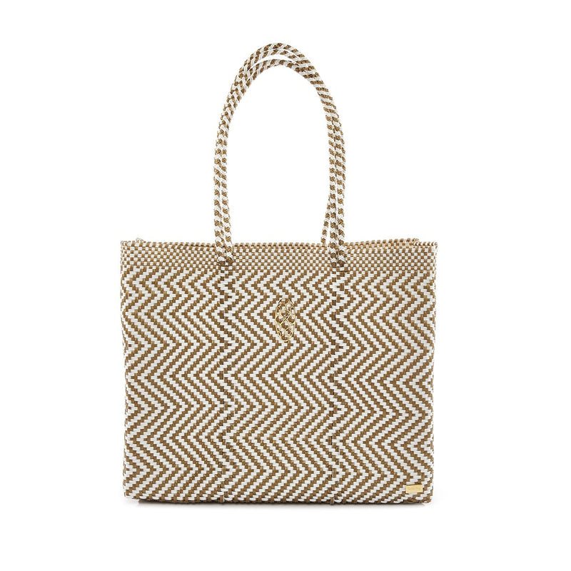 Oaxaca Travel Tote With Clutch, Gold/White