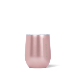 12oz Metallic Stemless Wine Cup, Rose