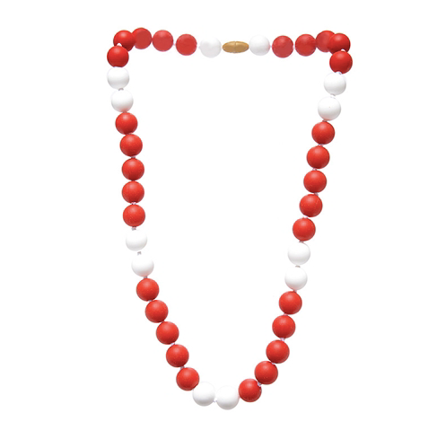Spirit Mom Teething Necklace, Red/White