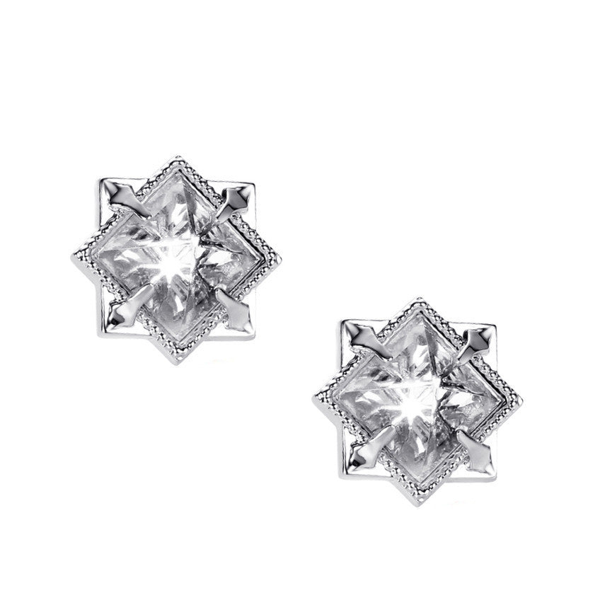 NATALIE WOOD DESIGNS Runaway Romantic Pyramid Stud Earrings in Clear Quartz, Silver