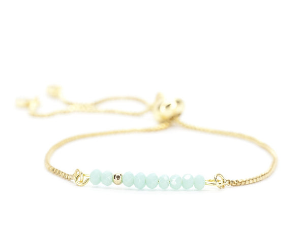 Beaded Bolo Bracelet in Baby Blue
