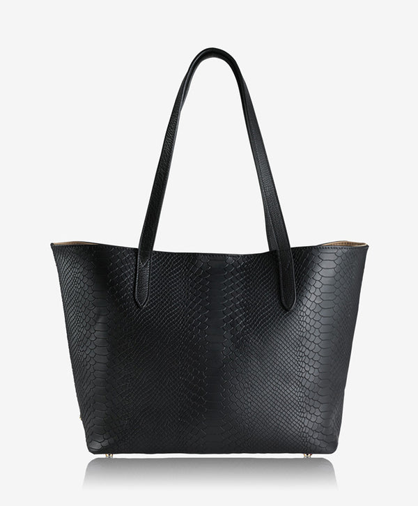 Teddie Tote, Black Embossed Python Leather