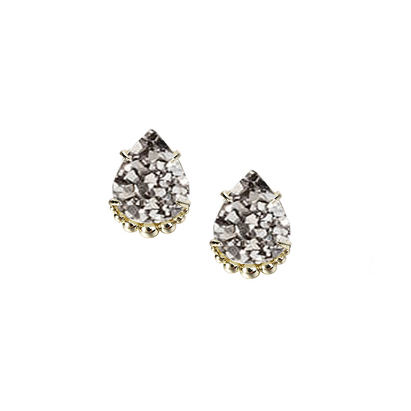 She's A Gem Stud Earrings - Grey Drusy