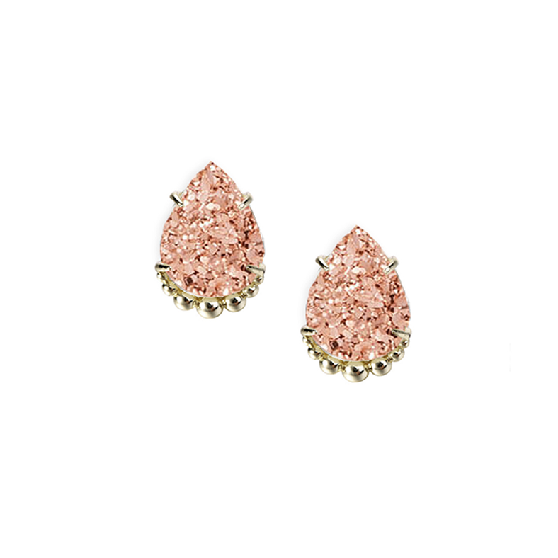 She's A Gem Stud Earrings - Rose Drusy