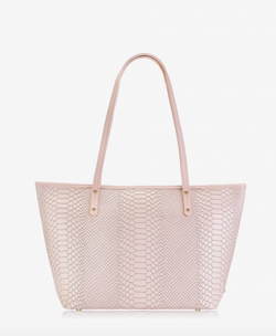 Zipper Top Mini Taylor, Nude Embossed Python Leather