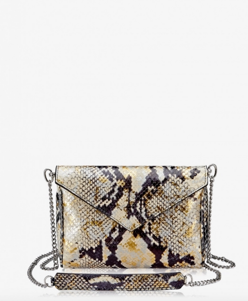Lena Mini Crossbody, Gold Wash Python Leather