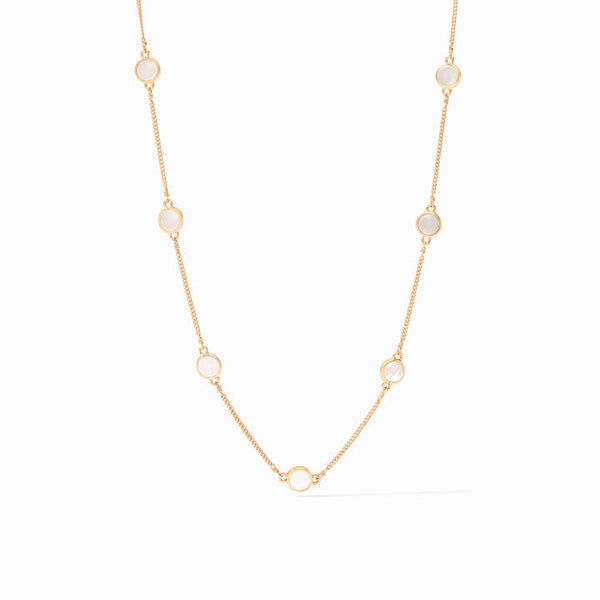 Valencia Delicate Station Necklace, Mother of Pearl
