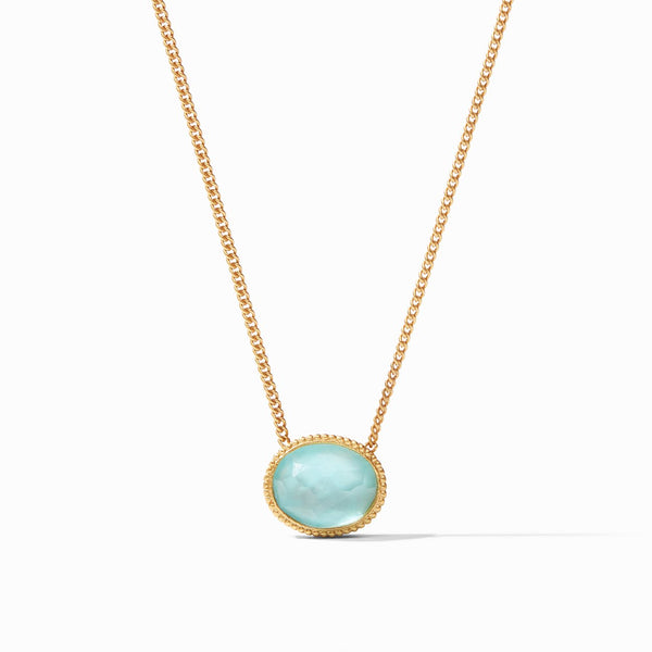 Verona Solitaire Necklace, Iridescent Bahamian Blue