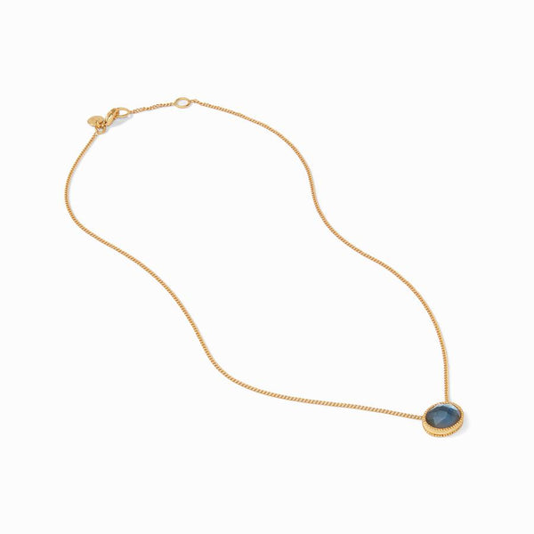 Verona Solitaire Necklace - Iridescent Azure Blue