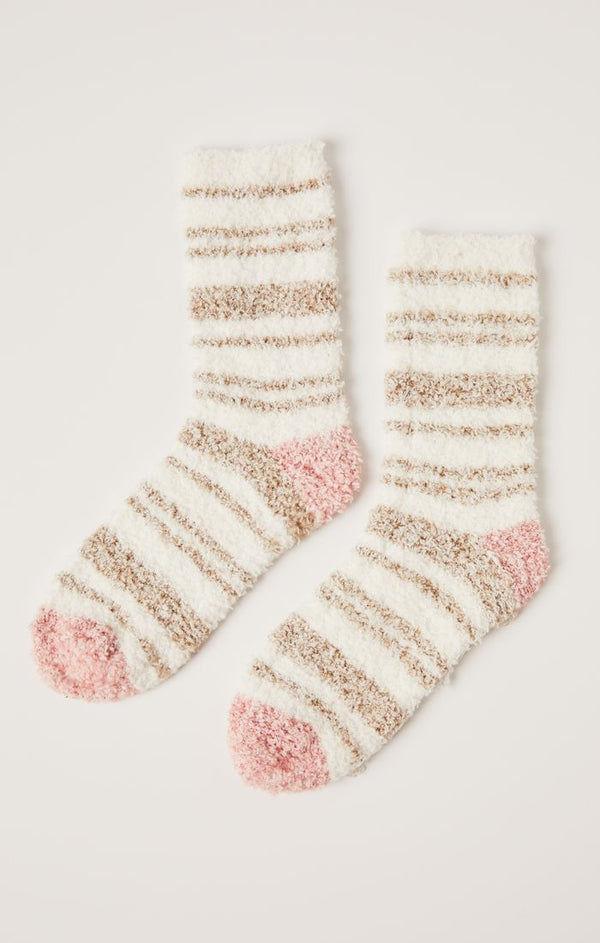 Stripe Plush Socks, Vanilla Ice