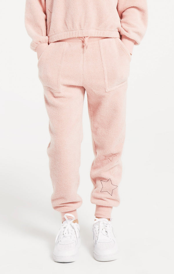 Girls Mick Fleece Joggers, Rosy Pink
