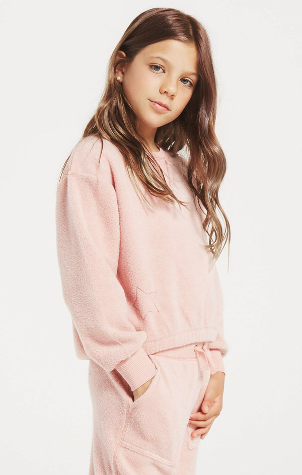 Girls Logan Fleece Crew, Rosy Pink