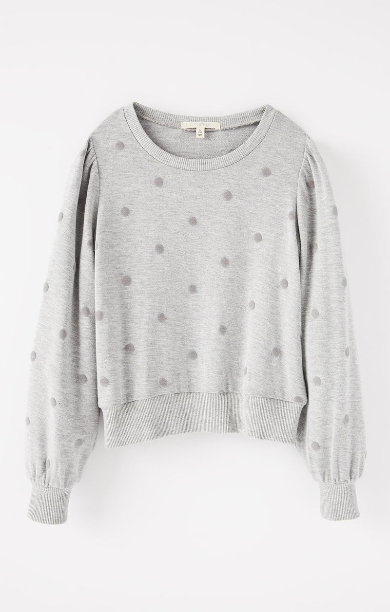 Girls Zoe Dot Top, Heather Grey